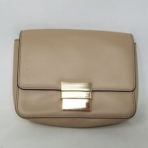Michael Kors Madelyn Leather Clutch Bisque/Gold